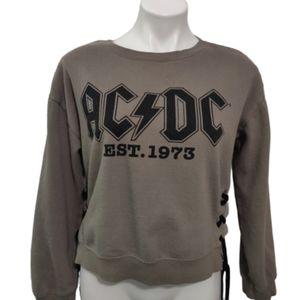 AC/DC green graphic crop sweater, tie detail ,M